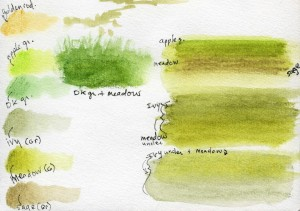 wcp color tests grass 2 72dpi 300x211 Spring Watercolor + Watercolor Pencil Sketches 5 12 09