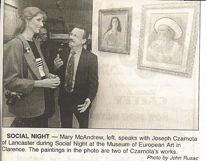 Me talking with local artist at Museum of European Art opening.