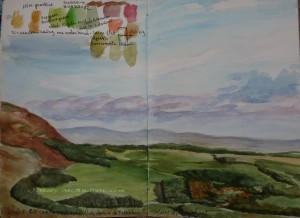 "Watercolor sketch ""Views over Clennel"""