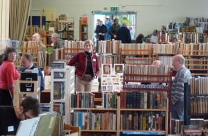 In the sea of books.