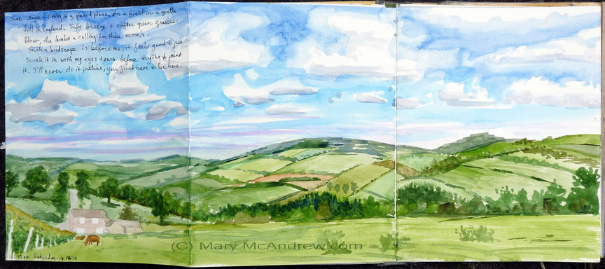 Fields above Edlingham watercolor unsigned
