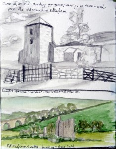 Edlingham church and castle quick sketch