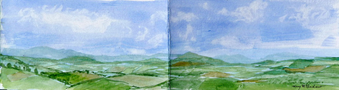 Small watercolor view from top of Edlingham