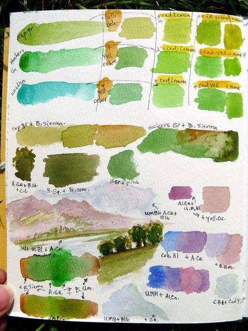 Watercolor - practice mixing - pg 1