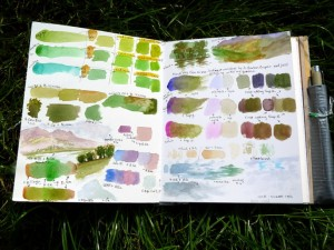 Watercolor practice mixing - pages 1+2 of sketchbook