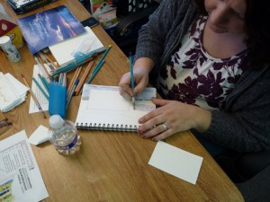 Creative  Journaling class 3 - drawing landscape behind a shape