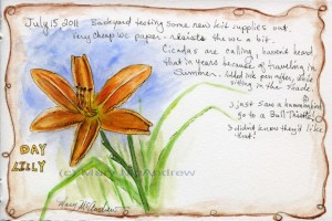 Day Lily in watercolor and metallic watercolor