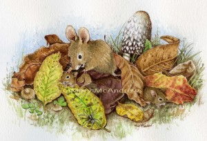 Mouse family in the Leaves