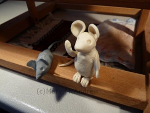 Mice in clay and an eraser