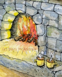 Oh what a cozy scene, I can almost smell the wood fire!
