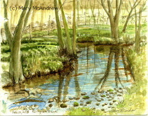 Watercolor of Edlingham Burn, in Edlingham village, Northumberland.