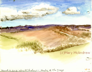 Study of Corby Crags in watercolor pencil.