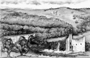 Charcoal drawing of Edlingham Castle,  July 2, 2015.