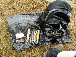Sometimes I set my stuff out on the ground, this is charcoal drawing supplies.