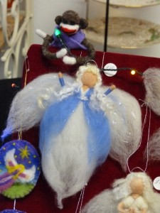 Sock Monkey and Angel, both needle felted.