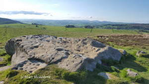 Here's the largest cup and ring marked stone at Lordenshaws with the marvelous view in the distance of Coquetdale.