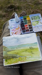 Painting with cold hands as the sky constantly changed.