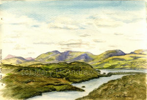 "Finished watercolor of ""Lake Windermere from Gummer's How"""