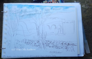 Beginning sketch I did while sitting on the wall of the churchyard.