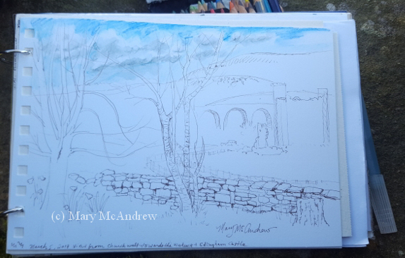 Beginning Sketch I Did While Sitting On The Wall Of Churchyard