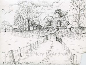 Ink drawing of Edlingham Church